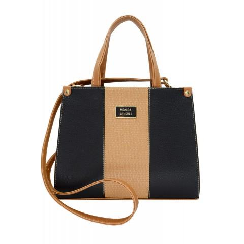 Bolsa Feminina Monica Sanches 3557 Canguru Preto / Athena Areia / caramelo