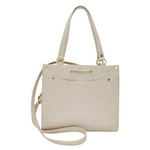 Bolsa Feminina Monica Sanches 3575 Kill Creme Metal