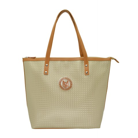 Bolsa Feminina Monica Sanches 3635 Paglia Ouro