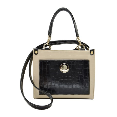 Bolsa Feminina Monica Sanches 3649 Croco Off White
