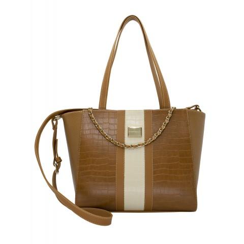 Bolsa Feminina Monica Sanches 1112 Jaqueline / Croco Conhaque