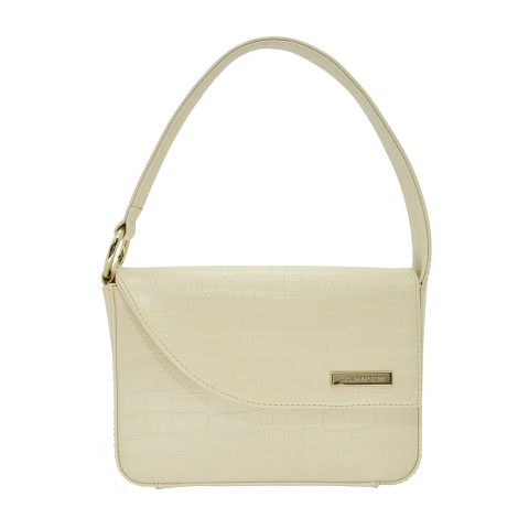 Bolsa Feminina Monica Sanches 1112 Raquel / Croco Off White