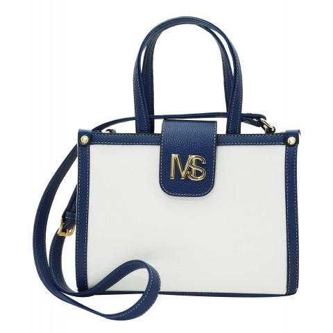 Bolsa Feminina Monica Sanches 3577 Canguru Branco/Azul