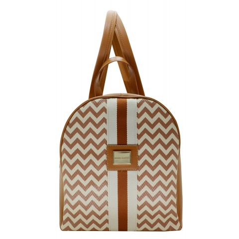 Bolsa Feminina Monica Sanches 3522 Paris Chevron Ambar