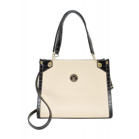 Bolsa Feminina Monica Sanches 1112 Helena / Croco Off White